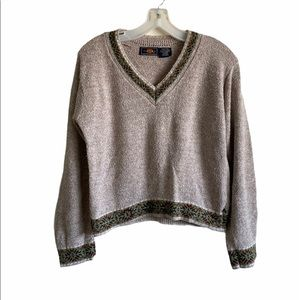 Route 66 Tweed Knit V Neck Sweater Size Small